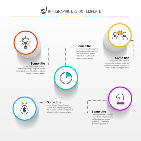 Illustration pour Infographic design template. Creative concept with 5 steps. Can be used for workflow layout, diagram, banner, webdesign. Vector illustration - image libre de droit