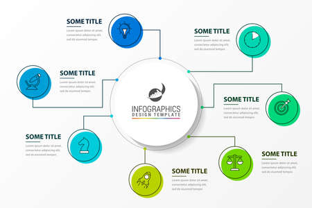 Illustration pour Infographic design template. Creative concept with 7 steps. Can be used for workflow layout, diagram, banner, webdesign. Vector illustration - image libre de droit