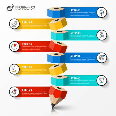 Illustration for Infographic design template. Creative concept with 8 steps. Can be used for workflow layout, diagram, banner, webdesign. Vector illustration - Royalty Free Image