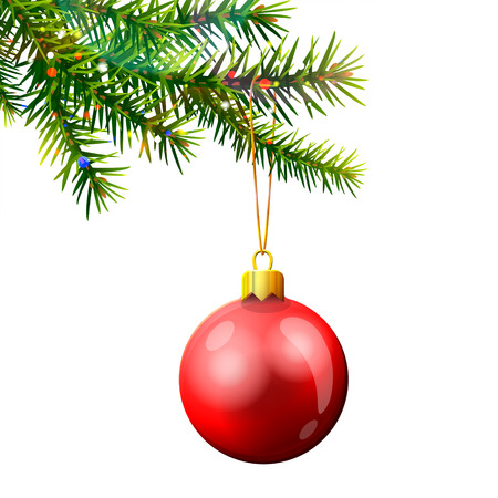 Christmas tree branch with bauble isolated on white. Red christmas ball hanging on pine twig. Qualitative vector (EPS-10) illustration for christmas, new years day, winter holiday, design, new years eve, silvester, etc