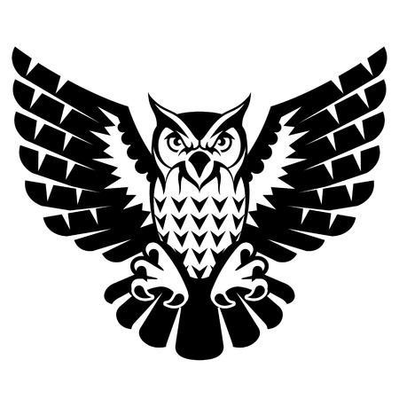 Owl with open wings and claws. Black and white tattoo of eagle owl, front view. Qualitative vector illustration for circus, sports mascot, zoo, wildlife, nature, etc