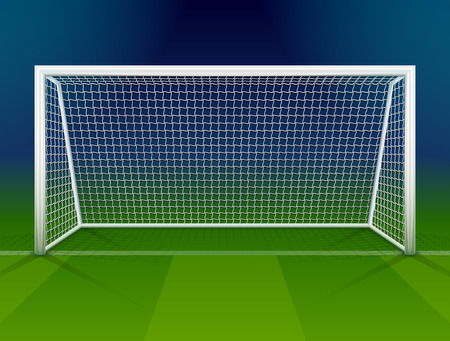 Soccer goalpost with net. Association football goal on field. Qualitative vector illustration for soccer, sport game, championship, gameplay, etc