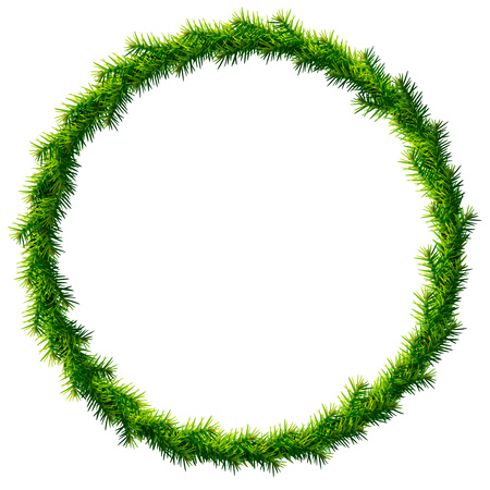 Thin christmas wreath without decoration. Round frame of pine branches isolated on white background. Qualitative vector illustration for christmas, new year day, decoration, winter holiday, design, new year eve, silvester, etc