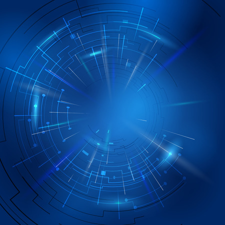Illustration pour Abstract technology background of circular lines and rays. Modern blue backdrop with light effects. Qualitative illustration for digital industry, hi-tech, science, engineering, computer systems, etc - image libre de droit