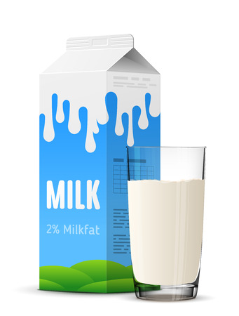Vektor für Glass of milk with gable top package close up. Cow milk carton and milk cup isolated on white background. Qualitative vector illustration for milk, food service, dairy, beverages, gastronomy, health food, etc - Lizenzfreies Bild