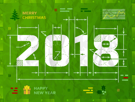 Illustration pour New Year 2018 as technical blueprint drawing. Drafting of 2018 on crumpled paper. Best vector illustration for new years day, christmas, winter holiday, new years eve, engineering, silvester, etc - image libre de droit