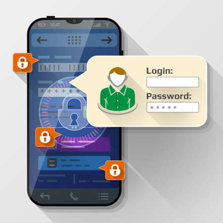 Illustration pour Smartphone with message bubble about login. Dialog box pop up over screen of phone. Vector image about smartphone, sign in, mobile technology, authorization, identification, etc - image libre de droit