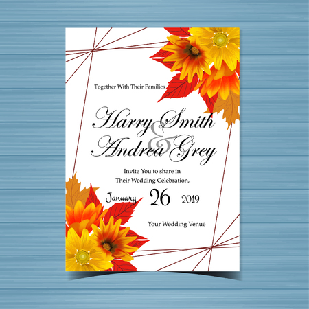 Illustration pour Gorgeous Floral Wedding Invitation with Realistic Yellow and Orange Daisy - image libre de droit