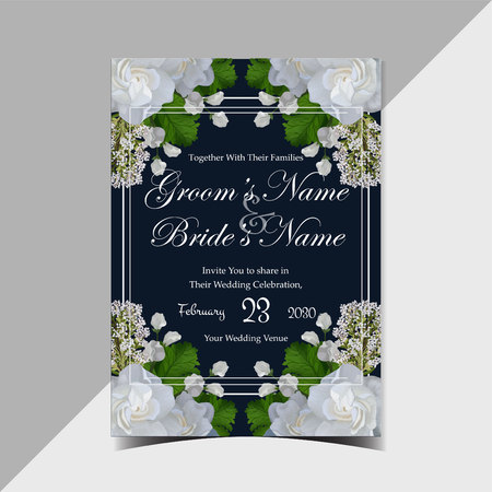 Illustration pour Vintage rustic navy floral wedding invitation with gorgeous realistic white roses and green leaves - image libre de droit