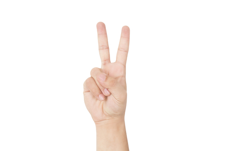 Photo pour Hand gesture and sign collection. Isolated on the white background - image libre de droit