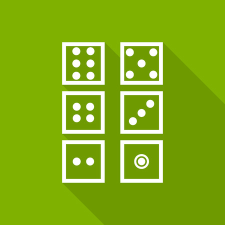 dice icon with long shadow. flat style illustration