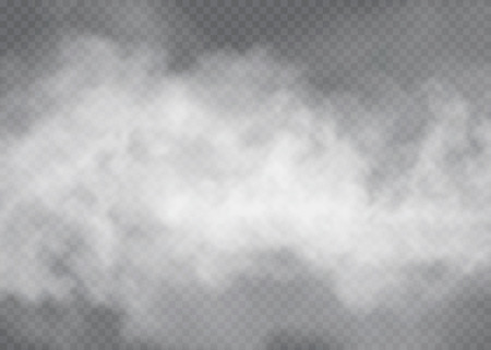 Illustration pour Fog or smoke isolated transparent special effect. White vector cloudiness, mist or smog background. Vector illustration - image libre de droit