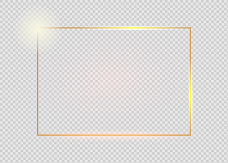 Ilustración de Gold shiny glowing vintage frame with shadows isolated on transparent background. Golden luxury realistic rectangle border. - Imagen libre de derechos