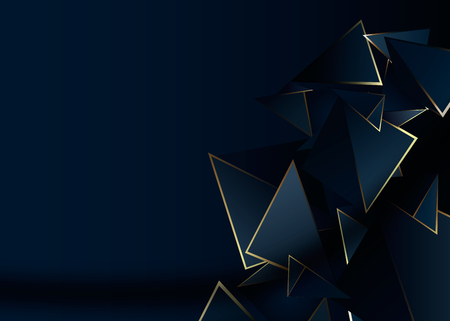 Illustration pour Abstract polygonal pattern luxury dark blue with gold background - image libre de droit