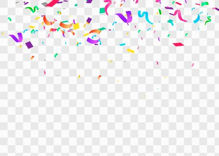 Illustration for Confetti isolated on transparent background. Falling confetti, birthday vector illustration - Royalty Free Image