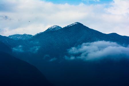 Photo pour Snowfall, snow covered hill pick from Kathmandu, Nepal, 9 Feb, 2019 - image libre de droit
