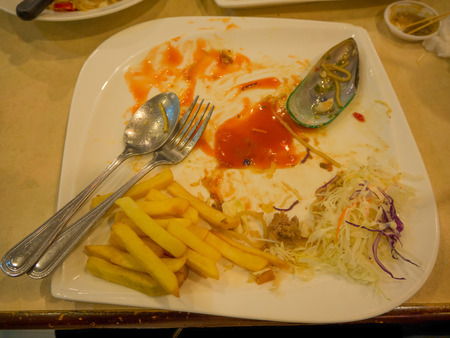 The food scraps residue in the plate ,Home cleanliness.