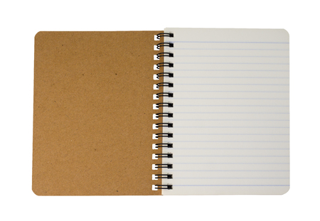 Photo for Top view of brown spiral notebook isolated on white background. (This has clipping path) - Royalty Free Image