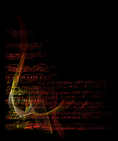 music notes on fire vector graphic