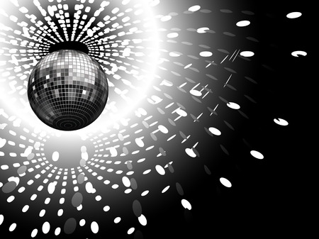 vector illustration of disco globe and light reflections