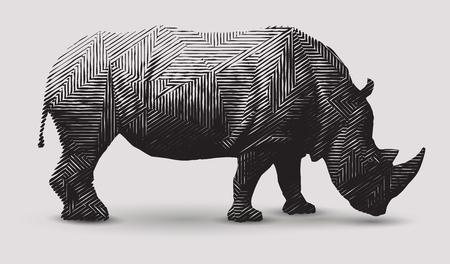 Ilustración de Vector rhinoceros illustration black and white illustration. Polygonal line art. - Imagen libre de derechos