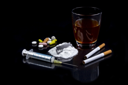 Collection of different hard drougs Heroin, Pills, Tobacco and Alcohol