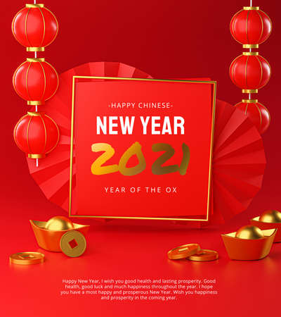 Photo for Happy Chinese New Year 2021 Chinese New Year Background Square Frame Template Poster Design 3D Rendering - Royalty Free Image