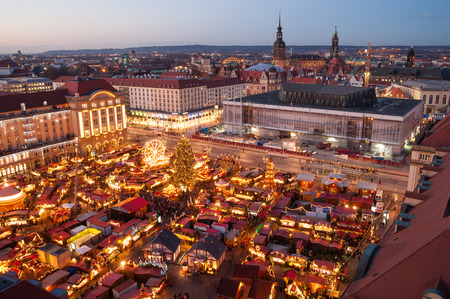 christmas market in Dresden seen from above