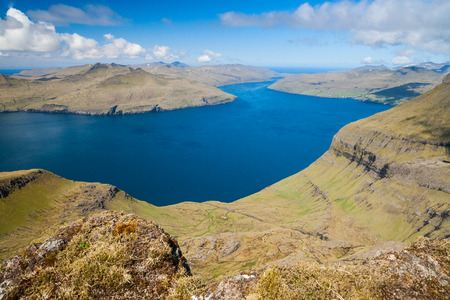 panoramic view over the beautiful landscape of the faroe islands