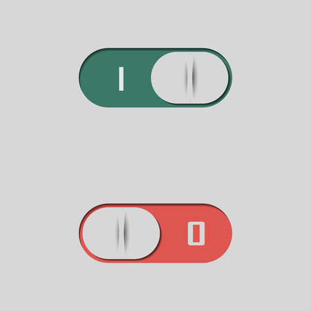 Set of different buttons and switches, web interface design elements isolated on white background, vector illustration.