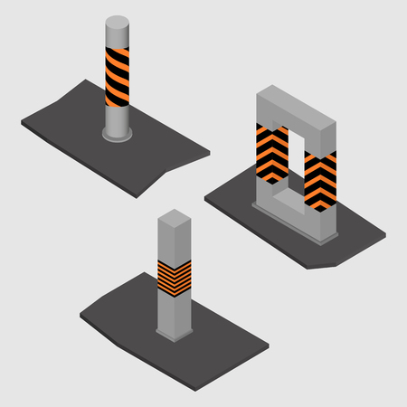 Set of different shape concrete columns and pillars, isolated on white background. Design elements of building materials and structures. Flat 3d isometric style, vector illustration.