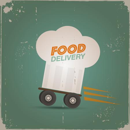 Illustration pour Chef hat delivery poster - image libre de droit