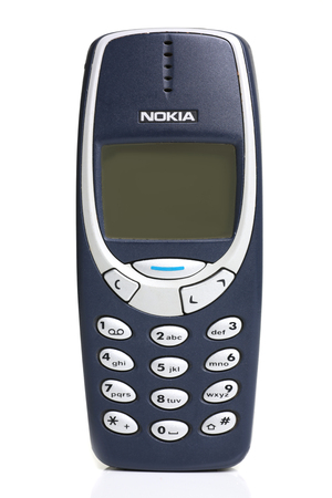 Photo for vintage phone nokia 3310 isolated on white - Royalty Free Image