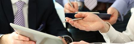 Photo pour Group businessman are looking and - image libre de droit