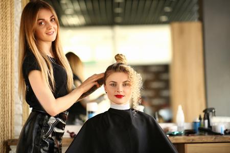 Foto für Woman Hairdresser and Client with Curly Hairstyle - Lizenzfreies Bild