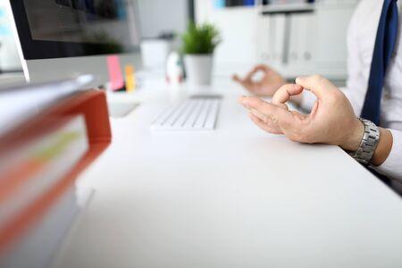 Photo pour Focus on hands of calm man working modern high-tech computer for information of business document storage. Businessman analyze marketing data. Stress relieve concept - image libre de droit