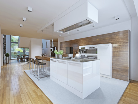 Bright kitchen avant-garde style. Kitchen cabinets and countertop bar with dark wood texture and kitchen appliances made in white. From this angle you can see the dining room and the stairs to the second floor. The kitchen is separated from the rest by me