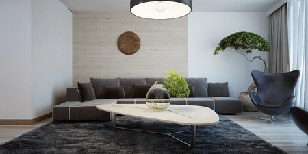 Idea of contemporary living room. Combined wall decoration ...