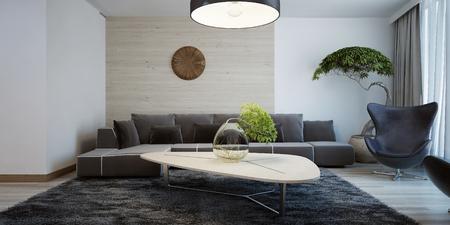 Foto de Idea of contemporary living room. Combined wall decoration. Living room with dark furniture and light wooden table. 3D render - Imagen libre de derechos