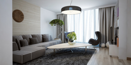 Bright spacious design of modern lounge. The minimalist interior is a beautiful spacious living room. Hidden cornices look beautiful with floor to ceiling windows. 3D render