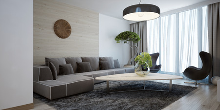 Foto de Bright lounge modern style. Spacious design room with a smooth wooden table, corner sofa and chairs. The combination of white and light brown wooden walls. 3D render. - Imagen libre de derechos