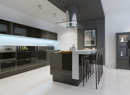 Idea of minimalist kitchen . Modern kitchen with an undermount sink, flat-panel cabinets, black tone cabinets and paneled appliances. 3D render