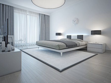 Photo pour Spacious contemporary styled bedroom with double bed, white carpet and light grey walls and furniture. 3D render - image libre de droit