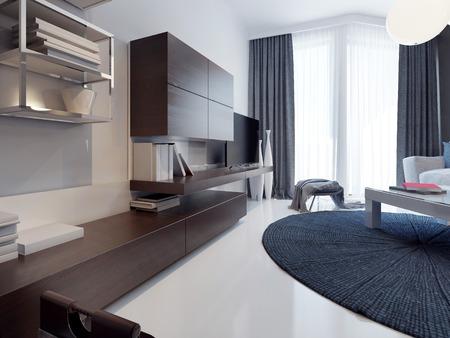 Contemporary living room design. Matte TV cabinet furniture ...