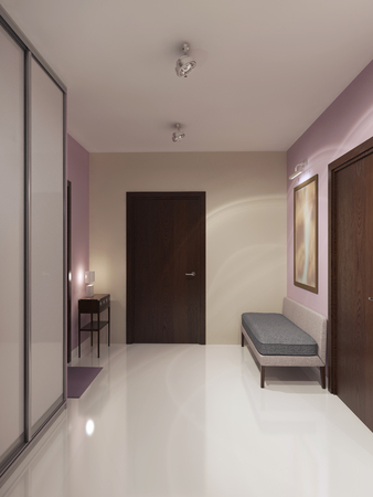 Design of spacious minimalist hallway. Cream and light pink walls,white ceiling and polished concrete flooring. 3D render