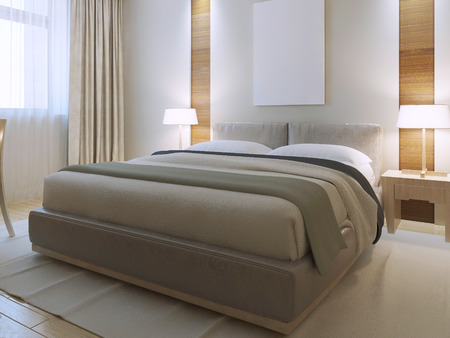 Bedroom contemporary style. Spacious room with decorative niche on the wall. Brand new dressed lether bed with snow-white cushions. 3D render