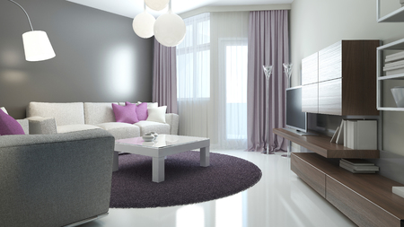 Idea of modern lounge. Room with balcony entrance, mat double colored walls and varnish contrete flooring. 3D render