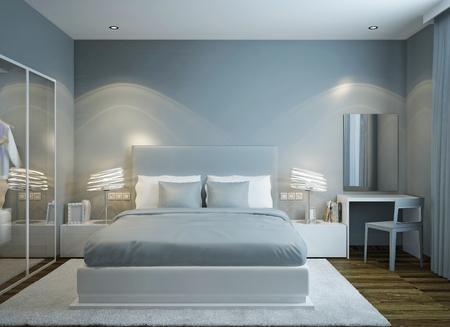 Master bedroom scandinavian style. 3D render