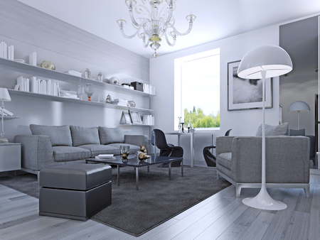Living room in modern style. Elegant living room with white walls and light grey laminate flooring. Wall system with white shelves.