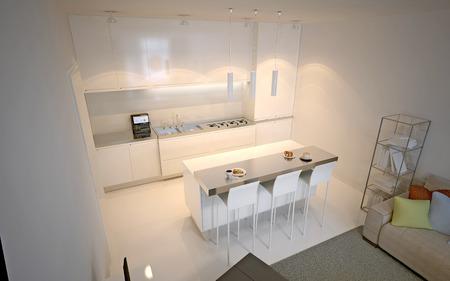 Scandinavian kitchen studio. Luxury kitchen with island bar and chairs. 3D render
